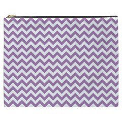 Lilac Purple & White Zigzag Pattern Cosmetic Bag (xxxl) by Zandiepants