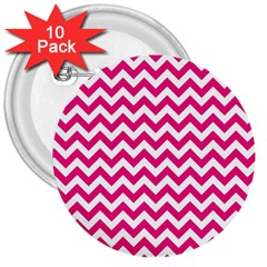 Hot Pink & White Zigzag Pattern 3  Button (10 pack) by Zandiepants