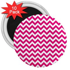 Hot Pink & White Zigzag Pattern 3  Magnet (10 Pack) by Zandiepants