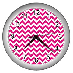 Hot Pink & White Zigzag Pattern Wall Clock (silver) by Zandiepants