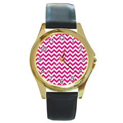 Hot Pink & White Zigzag Pattern Round Gold Metal Watch by Zandiepants