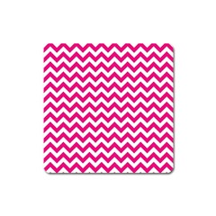 Hot Pink & White Zigzag Pattern Magnet (square) by Zandiepants