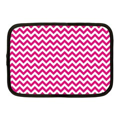 Hot Pink & White Zigzag Pattern Netbook Case (medium) by Zandiepants