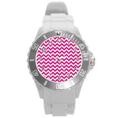 Hot Pink & White Zigzag Pattern Round Plastic Sport Watch (l) by Zandiepants
