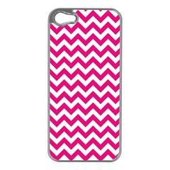 Hot Pink & White Zigzag Pattern Apple Iphone 5 Case (silver) by Zandiepants