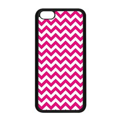 Hot Pink & White Zigzag Pattern Apple Iphone 5c Seamless Case (black) by Zandiepants