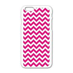 Hot Pink & White Zigzag Pattern Apple Iphone 6/6s White Enamel Case by Zandiepants