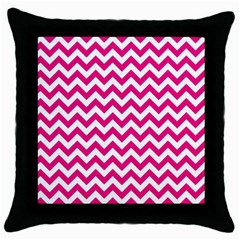 Hot Pink & White Zigzag Pattern Throw Pillow Case (Black) by Zandiepants