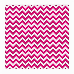 Hot Pink & White Zigzag Pattern Medium Glasses Cloth (2 Sides) by Zandiepants