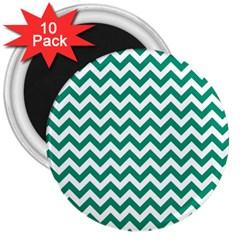 Emerald Green & White Zigzag Pattern 3  Magnet (10 Pack) by Zandiepants