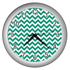 Emerald Green & White Zigzag Pattern Wall Clock (silver) by Zandiepants