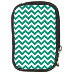 Emerald Green & White Zigzag Pattern Compact Camera Leather Case by Zandiepants