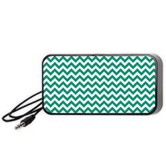 Emerald Green & White Zigzag Pattern Portable Speaker (black) by Zandiepants