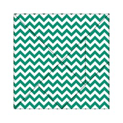 Emerald Green & White Zigzag Pattern Acrylic Tangram Puzzle (6  X 6 ) by Zandiepants
