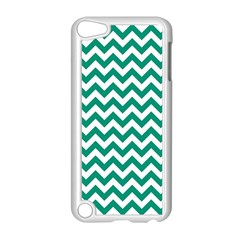 Emerald Green & White Zigzag Pattern Apple Ipod Touch 5 Case (white) by Zandiepants
