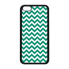 Emerald Green & White Zigzag Pattern Apple Iphone 5c Seamless Case (black) by Zandiepants