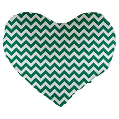 Emerald Green & White Zigzag Pattern Large 19  Premium Heart Shape Cushion by Zandiepants