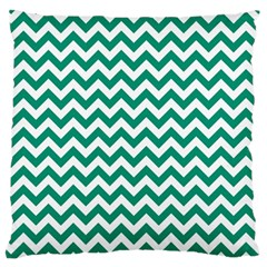 Emerald Green & White Zigzag Pattern Large Flano Cushion Case (one Side) by Zandiepants