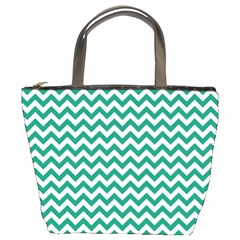 Emerald Green & White Zigzag Pattern Bucket Bag by Zandiepants