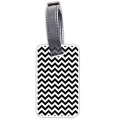 Black & White Zigzag Pattern Luggage Tag (two sides) by Zandiepants