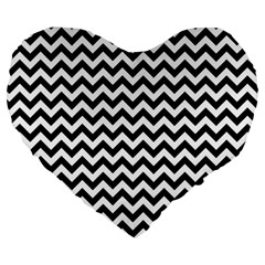 Black & White Zigzag Pattern Large 19  Premium Flano Heart Shape Cushion by Zandiepants
