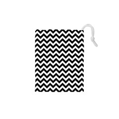 Black & White Zigzag Pattern Drawstring Pouch (xs) by Zandiepants