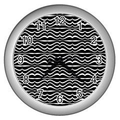 Modern Zebra Pattern Wall Clocks (silver)  by dflcprints