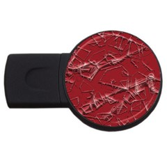 Thorny Abstract,red Usb Flash Drive Round (4 Gb)  by MoreColorsinLife
