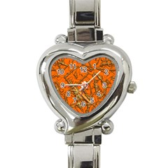 Thorny Abstract, Orange Heart Italian Charm Watch by MoreColorsinLife