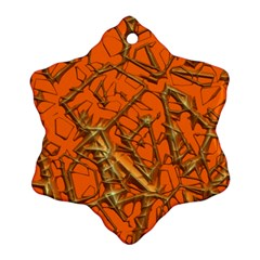 Thorny Abstract, Orange Snowflake Ornament (2 Side) by MoreColorsinLife