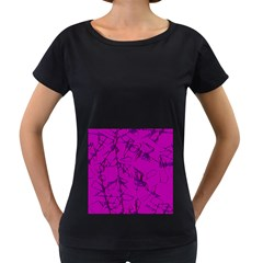 Thorny Abstract,hot Pink Women s Loose-Fit T-Shirt (Black) by MoreColorsinLife