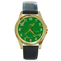 Thorny Abstract,green Round Gold Metal Watch by MoreColorsinLife