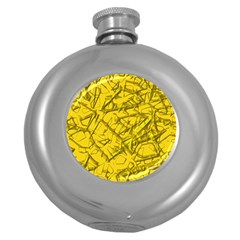 Thorny Abstract,golden Round Hip Flask (5 Oz) by MoreColorsinLife