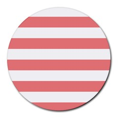 Horizontal Stripes - White and Coral Pink Round Mousepad by mirbella