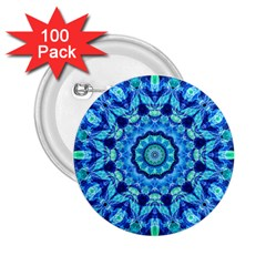 Blue Sea Jewel Mandala 2 25  Button (100 Pack) by Zandiepants