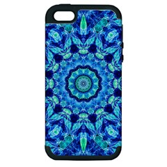 Blue Sea Jewel Mandala Apple Iphone 5 Hardshell Case (pc+silicone) by Zandiepants