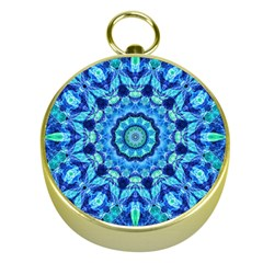 Blue Sea Jewel Mandala Gold Compass by Zandiepants