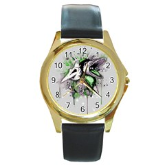 Recently Deceased Round Gold Metal Watch