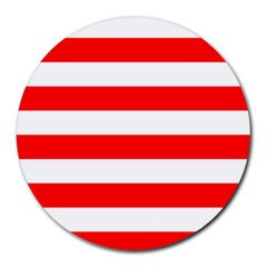 Horizontal Stripes - White and Red Round Mousepad by mirbella