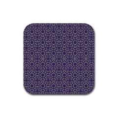 Stylized Floral Check Rubber Coaster (square)  by dflcprints