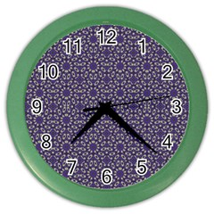 Stylized Floral Check Color Wall Clocks by dflcprints