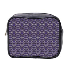 Stylized Floral Check Mini Toiletries Bag 2 Side