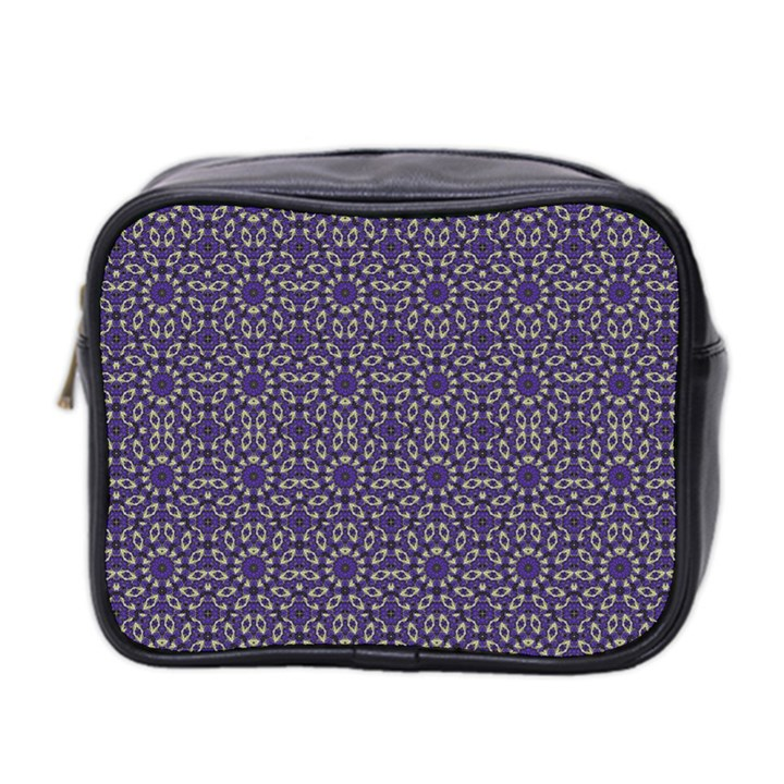 Stylized Floral Check Mini Toiletries Bag 2-Side