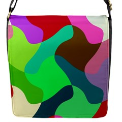 Retro Shapes                                   			flap Closure Messenger Bag (s) by LalyLauraFLM
