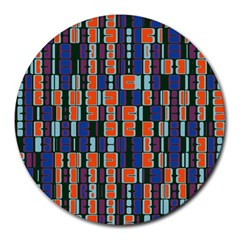 4 Colors Shapes                                    			round Mousepad by LalyLauraFLM