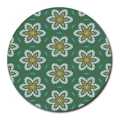Yellow Flowers Pattern                                    			round Mousepad by LalyLauraFLM