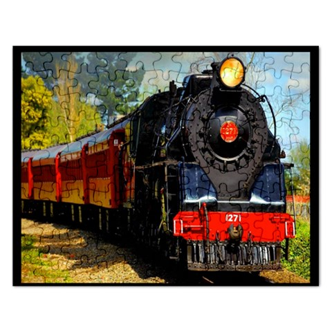 Red Train Formatted Template Into Puzzle By Pamela Sue Goforth   Jigsaw Puzzle (rectangular)   Bsksebehxqfg   Www Artscow Com Front