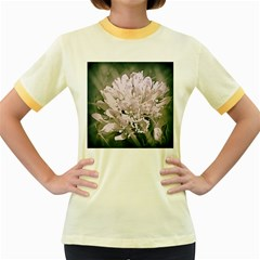 White Flower Women s Fitted Ringer T-Shirts by uniquedesignsbycassie