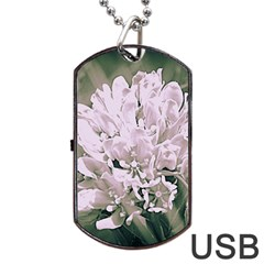 White Flower Dog Tag Usb Flash (two Sides)  by uniquedesignsbycassie