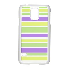 Yellow Purple Green Stripes Samsung Galaxy S5 Case (white) by BrightVibesDesign